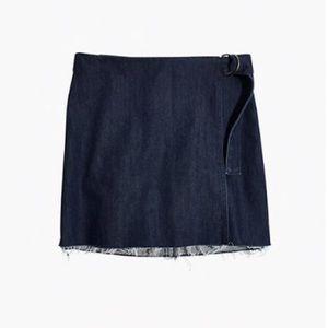 Madewell Denim Raw-Hem Wrap Skirt - Size 00